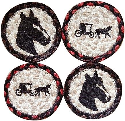 Capitol Earth Rugs Set of 4 Natural Jute Fiber Coasters (Horses)