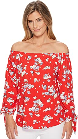 LAUREN Ralph Lauren Floral Jersey Off the Shoulder Top