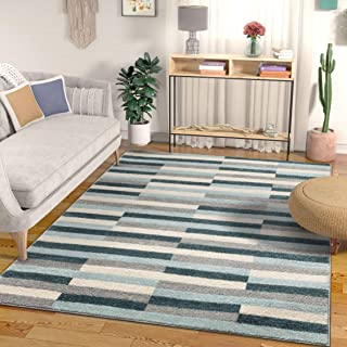 Well Woven Bryson Stripes Geometric Blocks Blue & Grey Area Rug 8x11 (7'10