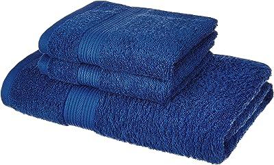 Amazon Brand - Solimo 100% Cotton 3 Piece Towel Set, 500 GSM (Iris Blue)