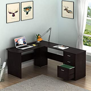 SHW L-Shaped Home Office Wood Corner Desk with 3 Drawers, Espresso