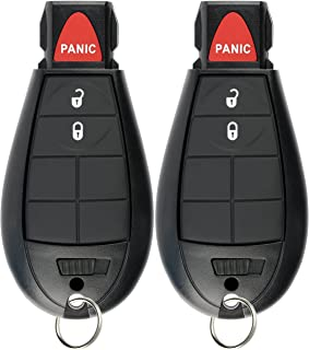 KeylessOption Keyless Entry Remote Car Key Fob Alarm for Dodge Ram, Jeep Cherokee GQ4-53T (Pack of 2)