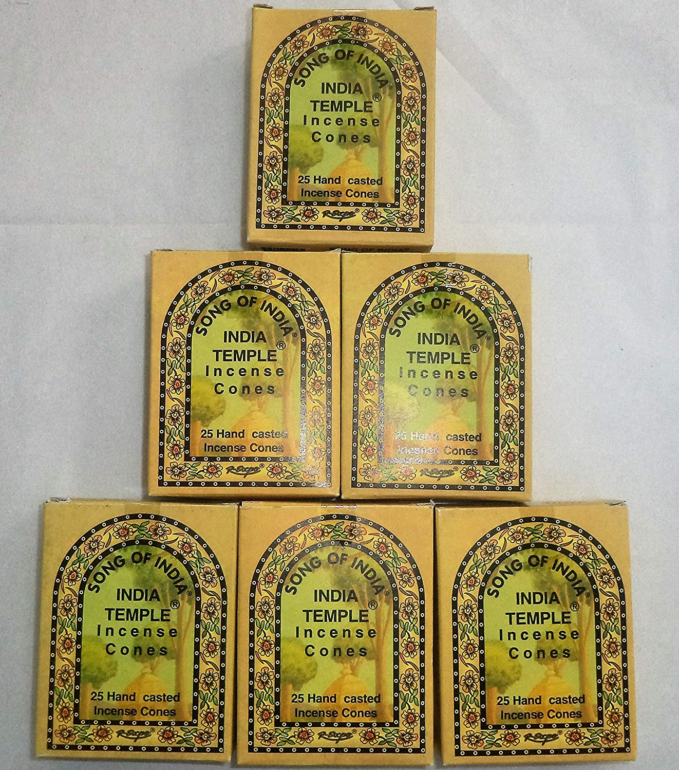 請求書定義する電圧Song of India Temple Cone Incense, 6 x 25 Cone Pack, 150 Cones Total