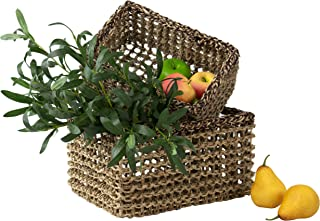MadeTerra Set of 2 Rectangular Nesting Wicker Woven Storage Basket Bins, Decorative Organiser Baskets for Living Room, Bathroom, Closet and Bath Beauty Product Organizer (Natural)