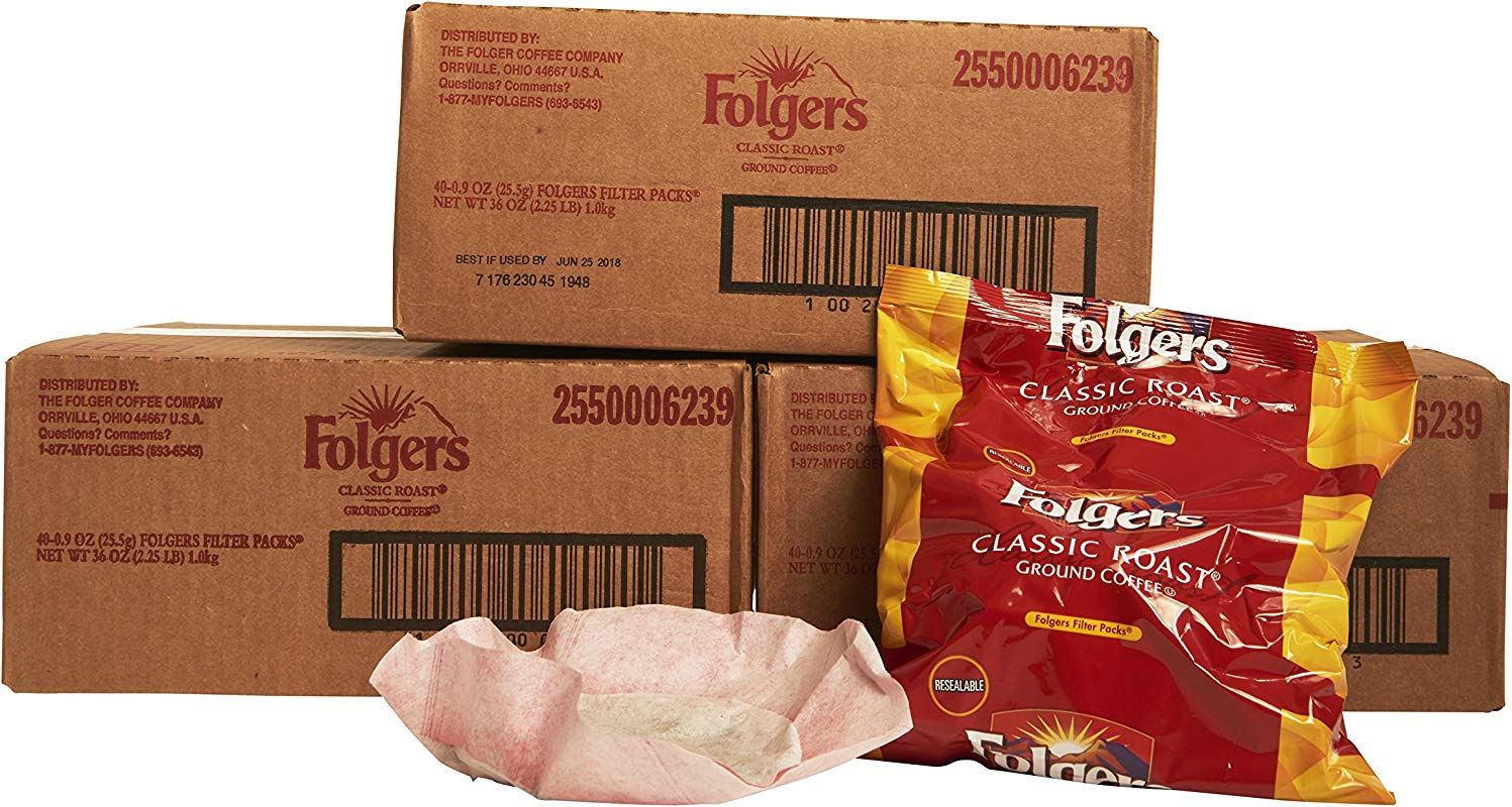 Folgers Classic Roast Filter Packs Premeasured Ground Coffee And Filter In A Single Pouch 3 Boxes 120 Count
