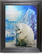 POLAR BEAR FRAMED Holographic Wall Art-POSTERS That FLIP and CHANGE images-Lenticular Technology Artwork--MULTIPLE PICTURES IN ONE--HOLOGRAM Images Change--by THOSE FLIPPING PICTURES
