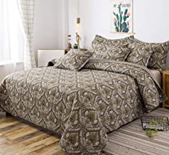 Tache Home Fashion Damask Spades Paisley Lightweight Quilt Bedspread Bedding Set, King, Olive Green/Brown/Navy Blue
