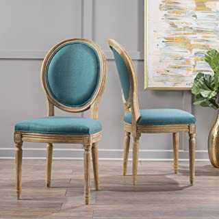 Christopher Knight Home Phinnaeus Fabric Dining Chair (Set of 2), Dark Teal