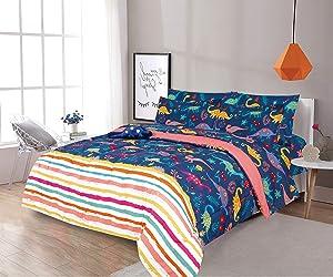 Sapphire Home 6 Piece Twin Size Girls Kids Teens Comforter Set Bed in Bag, Shams, Sheet Set & Decorative Toy Pillow, Kids Comforter Bedding w/Sheets, Dinosaur Print Stripe Multicolor, 6pc Dino Stripe