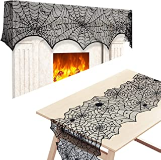 """2pack Black Lace Spiderweb Fireplace Mantle Scarf Cover With Lace Cobweb Tablecloth Runner For Halloween Decoration Halloween Parties Décor & Spooky Scary Parties 18""""x96"""",18""""x72"""""""