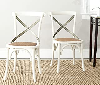 Safavieh American Homes Collection Eleanor Farmhouse X-Back Antique White Dining Chair (Set of 2)
