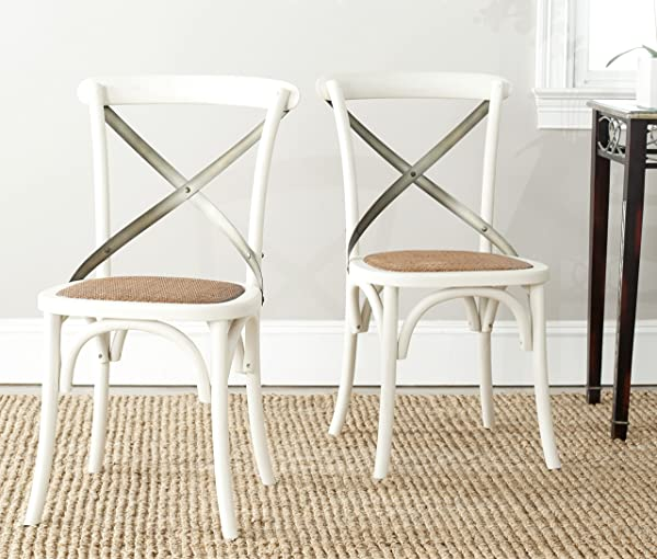 Safavieh American Homes Collection Eleanor Farmhouse X Back Antique White Dining Chair Set Of 2