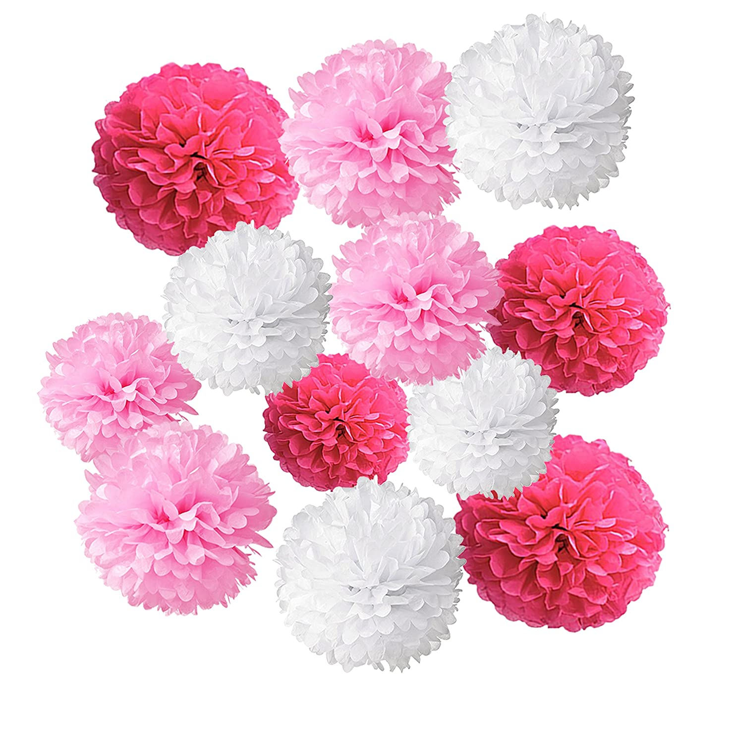 Wartoon Tissue Paper Pom Poms Flowers for Wedding Birthday Party Baby Shower Decoration, 12 pieces (Hot Pink, Pink and White)