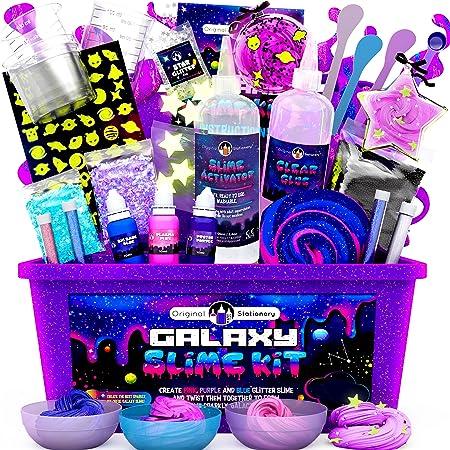 Original Stationery Galaxy Slime para Niños Kit Galaxy Slime Estrellas Que Brillan en la Oscuridad y Polvo de Slime para Hacer Slime Brillante y Galáctico!