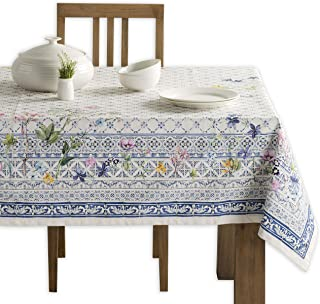 (150cm x 270cm) - Maison d' Hermine Faience 100% Cotton Tablecloth 60 - inch by 108 - inch