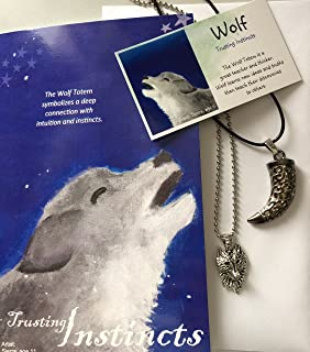 Smiling Wisdom - Wolf Tooth Totem Spirit Animal Gift Set - Greeting Card - Wolf Tooth Pendant Necklace - Gifts for Boys or Girls