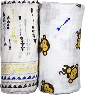 Babio Muslin & Bamboo Cotton 2 Pack Baby Swaddle Blanket Set - 47 inch x 47 inch - 2 Pack