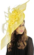 Large 34 Inch Elisaveta Sinamay, Silk and Feather Ascot Fascinator Hat - with