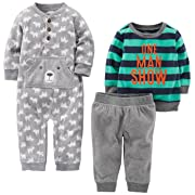 Simple Joys by Carter's Baby Boys' 3-Piece Playwear Set, Gray/Navy, 3-6 Months