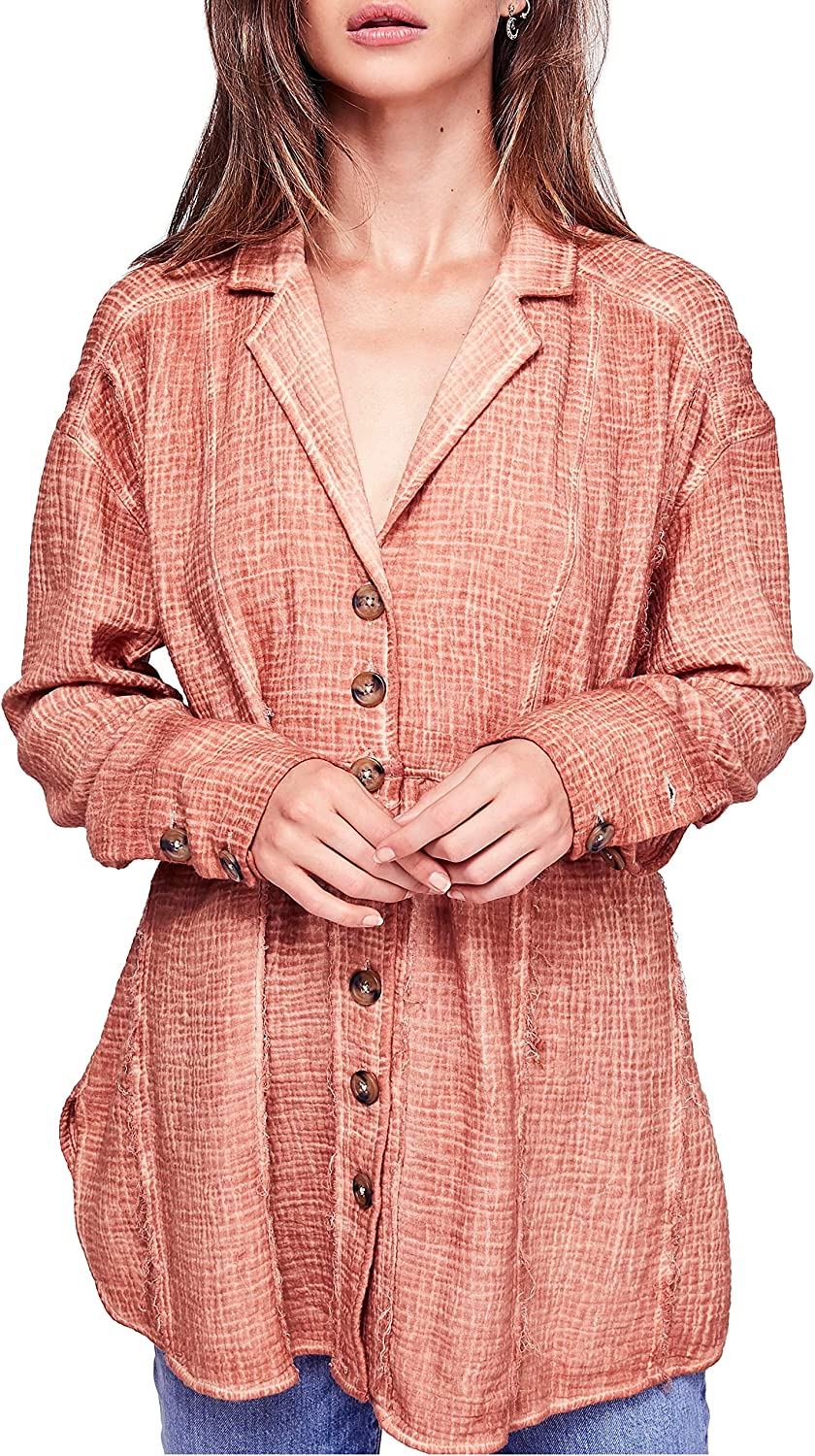 Free People All About The Feels Buttondown Top XS Peach