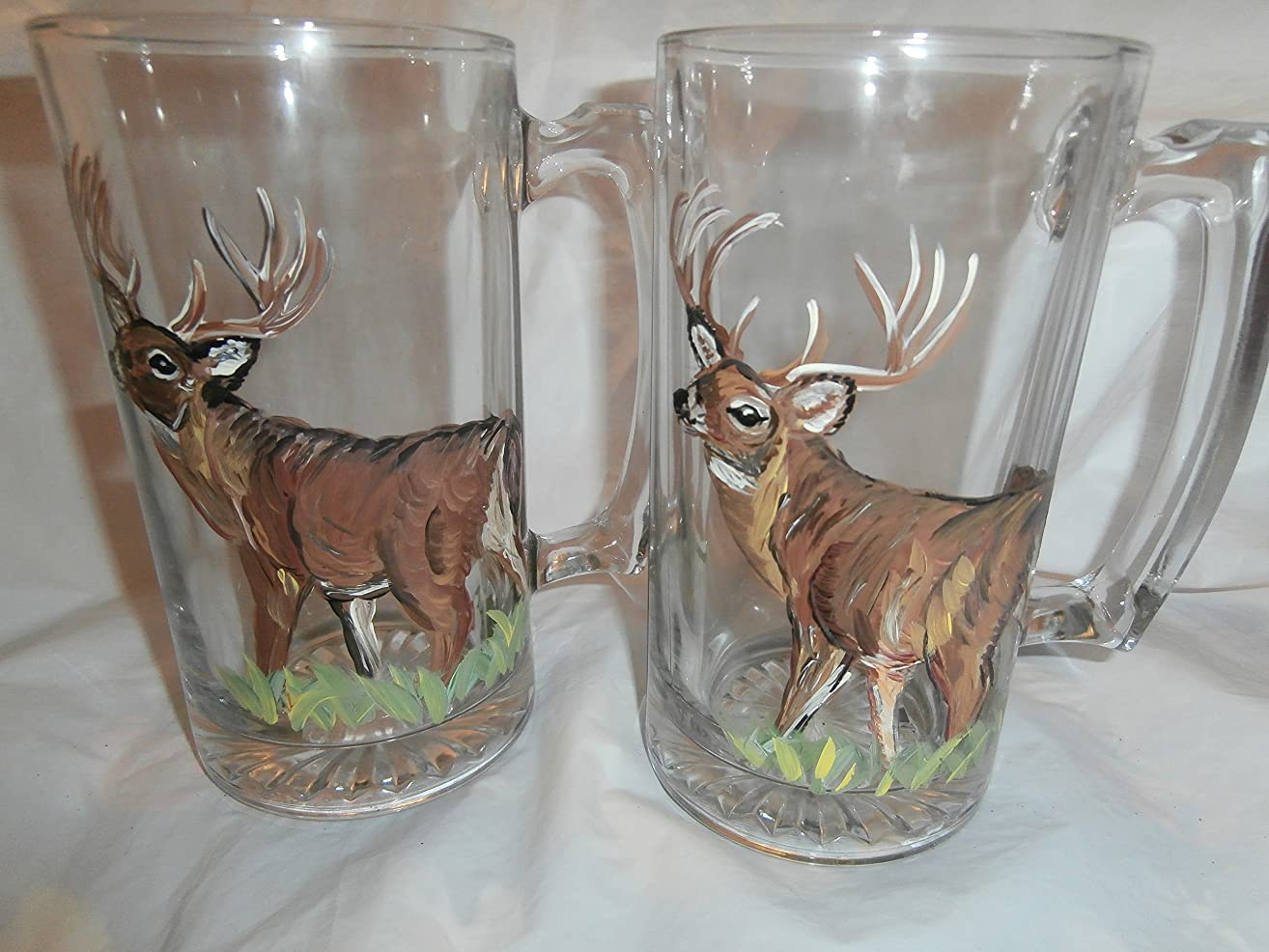 Hand painted deers. Set of 2 beer steins(mugs)