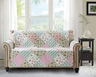 Patchwork Sofa Loveseat Protector Cover Slipcover 54 Inch Pet Dog Couch Funiture Cover Floral Print Reversible Quilted Soft Layers, Strap, Machine Wash Arm Chair Slipcover Not Leather, Pink/Green