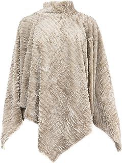 Life Is Beautiful Women's Faux Fur Turtleneck Poncho Cape