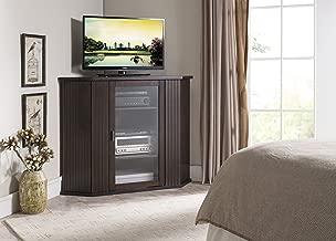 Kings Brand Walnut Finish Wood Corner TV Stand Storage Console