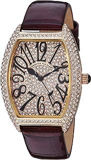 Christian Van Sant Women's Elegant Quartz Watch with Leather Strap, red, 14 (Model: CV4822)