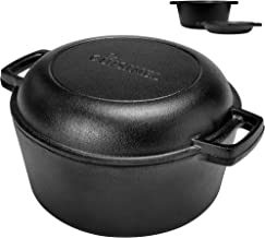 Pre-Seasoned Cast Iron Skillet and Double Dutch Oven Set – 2 In 1 Cooker: 5 Quart Deep..