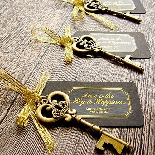4aff41e6137cc4 52 Heavy-Duty Metal Large Skeleton Key Bottle Opener Wedding Favor with Tag  (Chalkboard