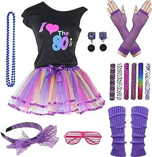 9 Piece 80s Pop Party Diva Teen Costume Accessories Set 7-16 Years