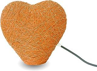 Lámpara de sobremesa corazón naranja decorativa de hilo de algodón, artesanal, hecha a mano 30 cms. HEART