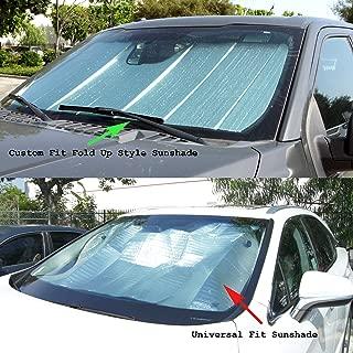 TuningPros CFS-016-S Custom Fit Fold Up Thermal Shade Car Windshield Protector, Sunshade Visor Sun Shade in Silver & Grey 1-pc Set Compatible With 2008-2016 Audi Q5