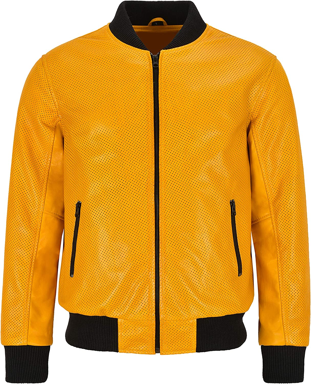Men's Bomber Leather Jacket Perforated Yellow Mustard Napa Leather Classic Aviator Series 4987