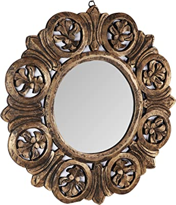 The Urban Store Decorative Hand Crafted Wooden Mirror Frame in Antique Gold Finish (24 x24)