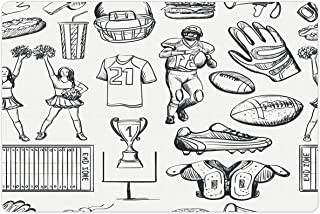 Lunarable Football Pet Mat for Food and Water, Cup Ball Cheerleader Player Sneakers Sports Equipment Sketch Pattern, Rectangle Non-Slip Rubber Mat for Dogs and Cats, Charcoal Grey and White