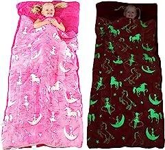 Unicorn Sleeping Bag Glow in The Dark Fairy Slumber Bag for Girls - Plush Glowing Girly Nap Mat for Kids- Luminescent Pink...