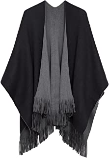 Urban CoCo Women's Winter Vintage Poncho Capes Tassel Blanket Shawl Wrap Cardigan Coat