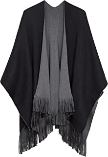 Urban CoCo Women's Winter Vintage Poncho Capes Tassel Blanket Shawl Wrap Cardigan Coat