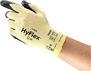 Ansell HyFlex 11-500 Kevlar Glove, Cut Resistant, Black Foam Nitrile Coating, Knit Wrist Cuff, X-Large, Size 10 (Pack of 12)