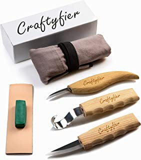 Wood Carving Tools Set for Spoon Carving Kit of 3 Knives in Tools Roll - Includes Hook Knife, Whittling Sloyd Knife, Chip Carving Detail Knife, Leather Strop, Polishing Compound