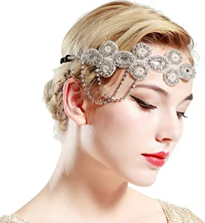 BABEYOND 1920s Flapper Headband Crystal Great Gatsby Themed Wedding Headpiece Roaring 20s Flapper Gatsby Hair Accessories (Silver)