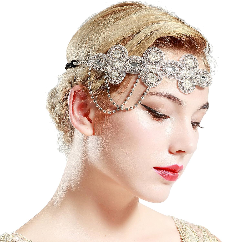 San Antonio Mall BABEYOND 1920s Flapper Headband Crystal Wedd Great Themed online shop Gatsby