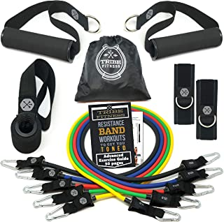 Tribe 11PC Premium Band Bands، Bands - با لنگر درب، دستگیره و تسمه های مچ پا - قابل حمل تا 105 پوند - برای آموزش مقاومت، فیزیوتراپی، تمرینات خانگی، یوگا، پیلاتیز