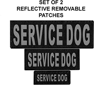 Set of 2 Service Dog Reflective Service Dog Removable Patches for Dog Harnesses & Vests.