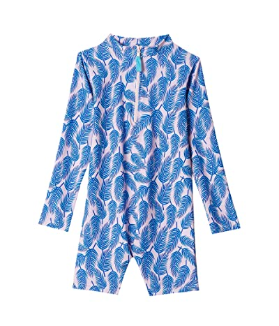 Toobydoo Sunset Palms Rashguard UPF 50+ Sunsuit (Infant/Toddler) (Pink) Girl