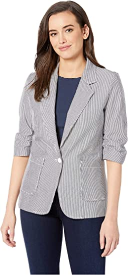 Pinstripe Ruched Sleeve Jacket