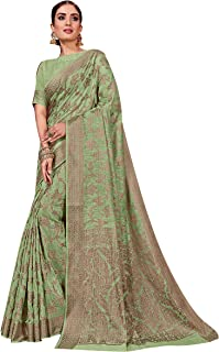 Sarees For Women Linen Silk Woven Saree, Indian Wedding Gift Sari with Unstitched Blouse