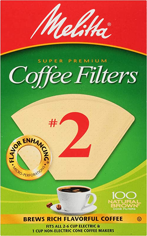Melitta 2 Super Premium Cone Coffee Filters Natural Brown 100 Count Pack Of 6